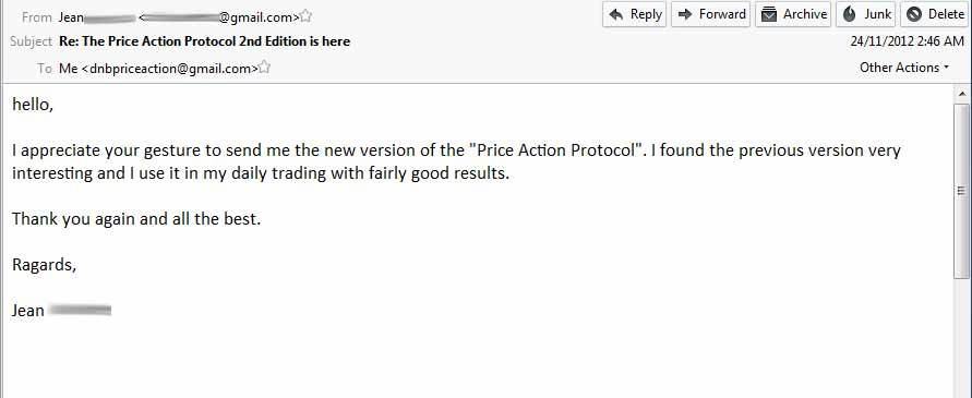 Price Action Protocol Feedback from Jean