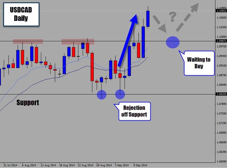 Price Action Buy Signal from Support on USDCAD Projects Price Upwards