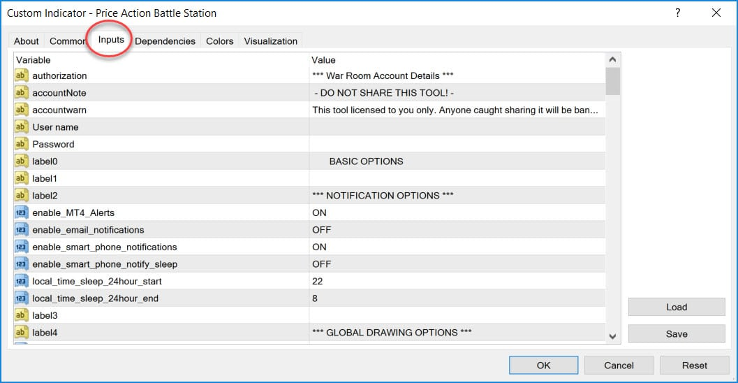 indicator-input-tab