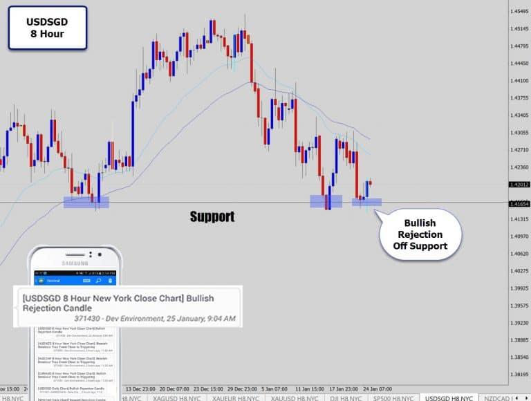 USDSGD 8 Hour – Bullish Reversal Signal Off Support Level