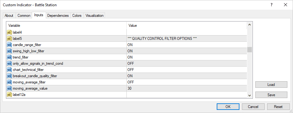Quality control candelstick detection settings for batlle station