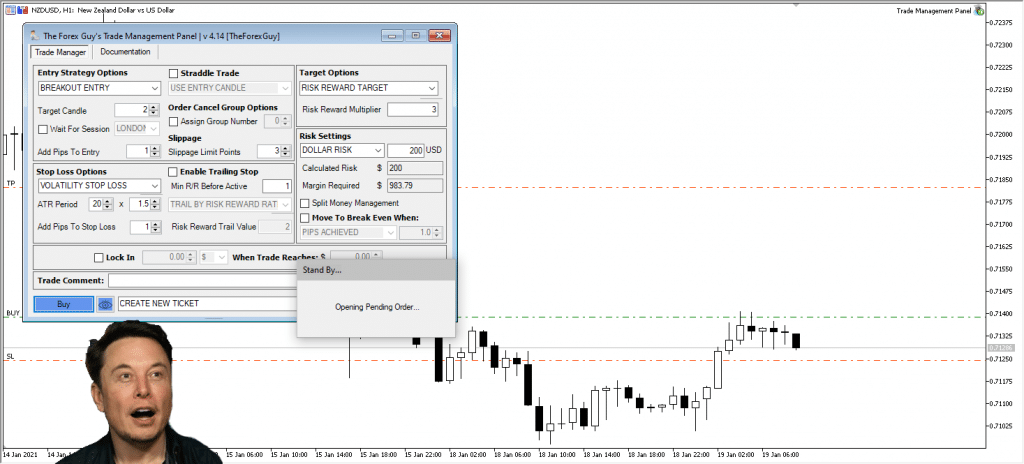 trade opening example