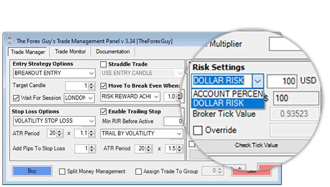 trade panel risk settings