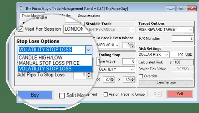 trade panel stop settings