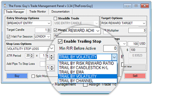 trade panel trailing stop methods